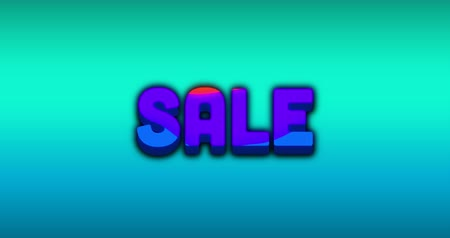 spare : Animation of the word Sale in blue appears from multicoloured splash on dark green to turquoise gradient background