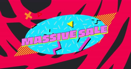 desenli : Animation of the words Massive Sale in pink and shapes displayed on turquoise oval and on red and black patterned background