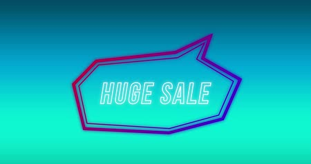 угловой : Animation of the words Huge Sale in purple bubble speech shape on blue gradient background