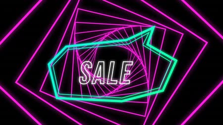 угловой : Animation of the word Sale in white outline letters in an blue angular speech bubble with a rotating pink fractal spiral behind on a black background Стоковые видеозаписи