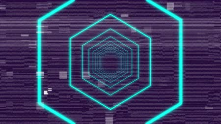 distorsiyon : Animation of glowing blue outline concentric hexagon shapes emanating from the centre and enlarging and distorting on black background with horizontal flickering grey lines, squares and rectangles