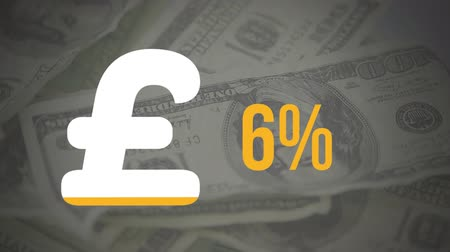 esterlino : Animation of pound sterling currency symbol and percentage increasing from zero to sixty filling in yellow over rotating dollar banknotes in the background Stock Footage