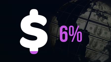 százalék : Animation of dollar symbol and percent increasing from zero to fifty nine filling in purple on black background with spinning globe of dollar bills Stock mozgókép