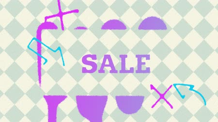 ステンシル : Animation of the word Sale spraypainted with purple paint with arrows and shapes on a grey and white diamond patterned background 動画素材