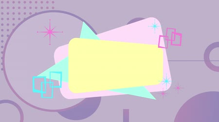 négyszögletes : Animation of yellow, pink and green rectangular and triangluar shapes appearing on top of one another, with purple circles and dots and pink and green graphic elements appearing and then disappearing, on a lilac background