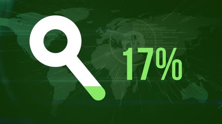 compleição : Animation of magnifying glass shape and percentage increasing from zero to one hundred filling in green over world map and connected people icons on green background