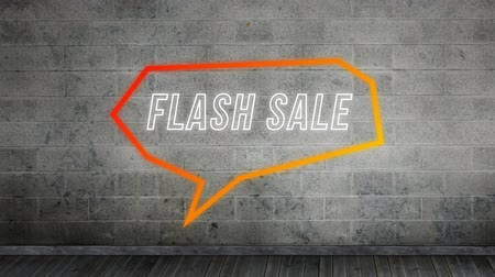 угловой : Animation of the words Flash Sale in white outline letters in an orange angular speech bubble on brick background