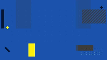 kursor : Animation of grey, yellow, black and lined rectangles moving with blinking yellow and black cursors, on dot grid blue background