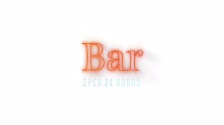 indicar : Animation of the word Bar in red flickering neon on a white background Stock Footage