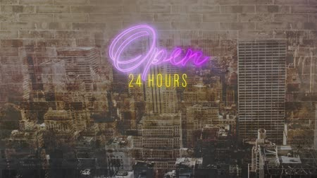indicar : Animation of the words Open 24 hours in purple and yellow flickering neon on a modern cityscape