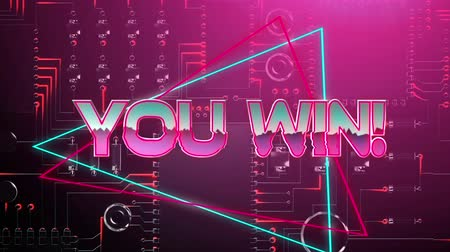 terms : Animation of the words You Win! coloured in pink and shining silver metallic letters appearing with blue and red triangles on a pink lit circuit board with glowing red light trails Stock Footage