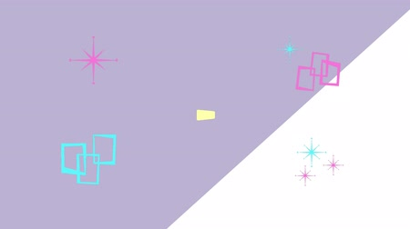 leylak : Animation of yellow, pink and green rectangular and triangluar shapes appearing on top of one another, with pink and green graphic elements appearing and then disappearing, on a lilac and white divided background