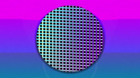 уменьшающийся : Animation of colourful concentric circles enlarging and diminishing over pink sunset, with textured reflective mesh changing colour in the background