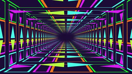 vanishing point : Animation of a rectangular neon lit tunnel, with blue, green and pink triangles moving towards a central black vanishing point