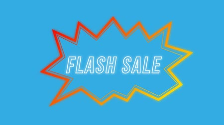 угловой : Animation of the words Flash Sale in white outline letters in an red and yellow angular speech bubble on a blue background