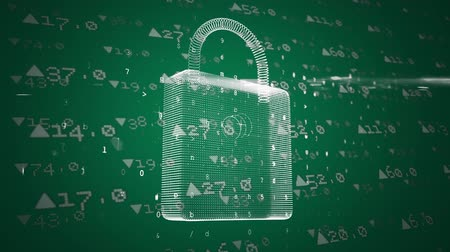 részvények : Animation of a white padlock and financial data moving on green background
