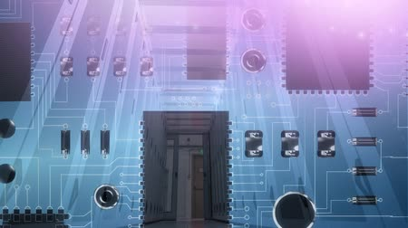 интегрированный : Animation of computer circuit board with a server room corridor on pink to blue background Стоковые видеозаписи