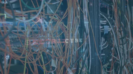 excesso de trabalho : Animation of a close up of cables in a computer server room, with data security warning messages in the foreground