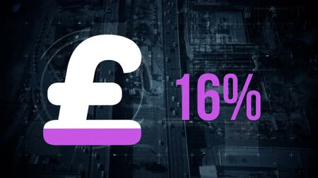 esterlino : Animation of pound sterling currency symbol and percentage increasing from zero to one hundred filling in purple over aerial view of city and moving shapes in the background