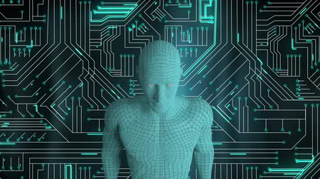 integrovaný : Animation of a metallic 3d android against a computer circuit board with green light trails moving through it in the background