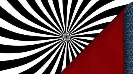 vystavený : Animation of blue patterned wallpaper peeled back from top left to reveal red underside and rotating black and white striped pattern, then covering up again