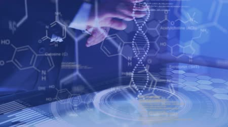 pathology : Animation of mid section of a man moving virtual data with DNA and structural formula of chemical compounds Stock Footage