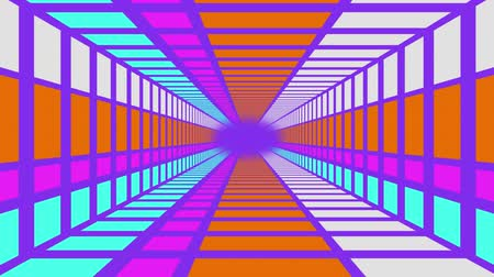 vanishing point : Animation of a rectangular purple tunnel with orange, white, pink and blue panels, moving towards a central purple vanishing point