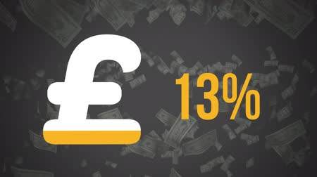 esterlino : Animation of pound sterling currency symbol and percentage increasing from zero to ninety three filling in yellow over falling banknotes in the background Stock Footage