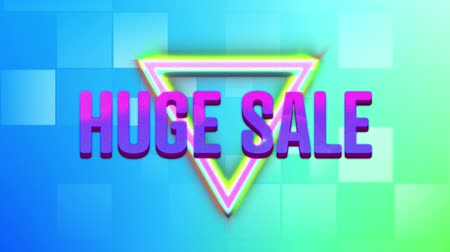 desenli : Animation of the words Huge Sale in pink to purple letters with colourful triangles appearing on a square patterned background
