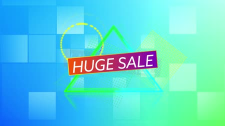 desenli : Animation of the words Huge Sale in white letters on a orange to purple banner with shapes appearing on a square patterned background Stok Video