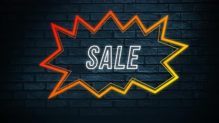 угловой : Animation of the word Sale in white outline letters in an angular red and orange speech bubble on a black brick wall background Стоковые видеозаписи