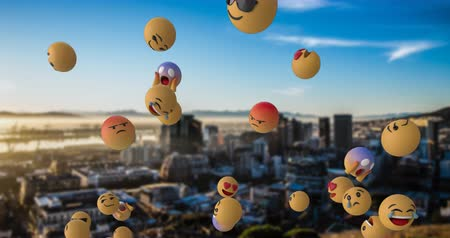 lol : Animation of emoji icons flying from right to left over cityscape and blue sky 4k