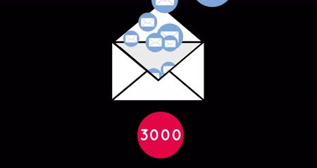 deset : Animation of a white envelope icon opening and releasing a group of blue envelope icons with a pink dot with numbers going up to ten thousand on a black background 4k