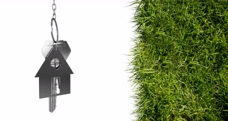 mülkiyet : Animation of silver house keys and house shaped key fob hanging over grass on white background 4k Stok Video
