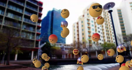 lol : Animation of emoji icons flying from right to left over cityscape in fast motion 4k Stock Footage