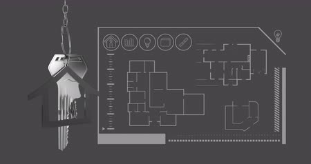 反射する : Animation of silver house keys and house shaped key fob hanging over an architectural drawing of a house on grey background 4k
