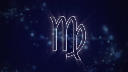 superstition : Animation of a white outline of the Virgo zodiac sign appearing on a purple background with blue twinkling lights Stock Footage