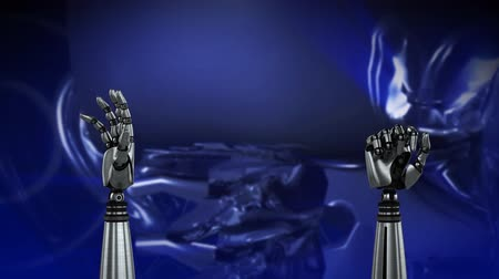 head over : Animation of metal robot hands turning and unclenching fist over blue background with a spinning 3d android head and circles Stock Footage