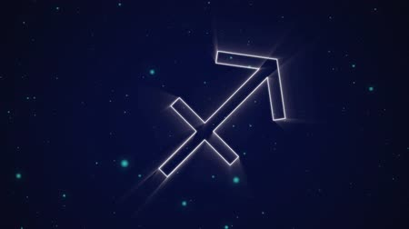 strzelec : Animation of a white outline of the Sagittarius zodiac sign appearing on a purple background with blue glowing spots