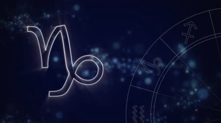 bak : Animation of a white outline of the Capricorn zodiac sign appearing on a purple background with blue twinkling lights and the zodiac wheel