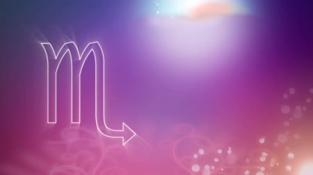 superstition : Animation of a white outline of the Scorpio zodiac sign appearing on a purple to pink gradient background with distant twinkling lights