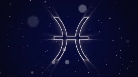 babona : Animation of a white outline of the Pisces zodiac sign appearing on a purple background with moving lights