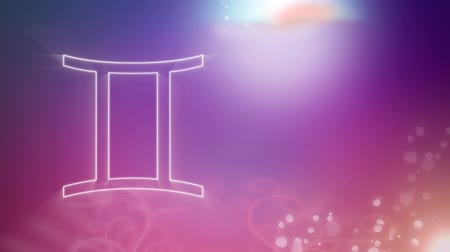 horoszkóp : Animation of a white outline of the Gemini zodiac sign appearing on a purple to pink gradient background with distant twinkling lights