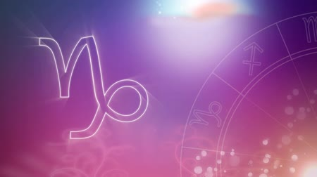 babona : Animation of a white outline of the Capricorn zodiac sign and spinning zodiac wheel appearing on a purple to pink gradient background with distant twinkling lights