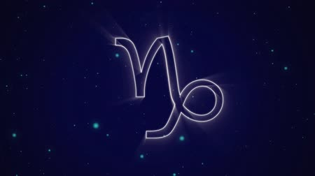 bak : Animation of a white outline of the Capricorn zodiac sign appearing on a purple background with blue glowing spots