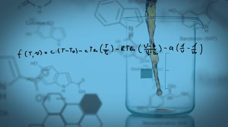 estrutural : Animation of a laboratory beaker being filled with coloured chemical liquid, with handwritten formula, data and structural formula of chemical compounds on a blue background