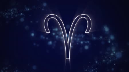 astroloji : Animation of a white outline of the Aries zodiac sign appearing on a purple background with blue twinkling lights