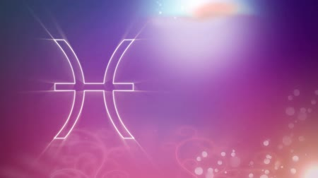 pisces : Animation of a white outline of the Pisces zodiac sign appearing on a purple to pink gradient background with distant twinkling lights