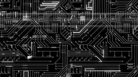 интегрированный : Animation of computer circuit board with light trails passing through it on a black background