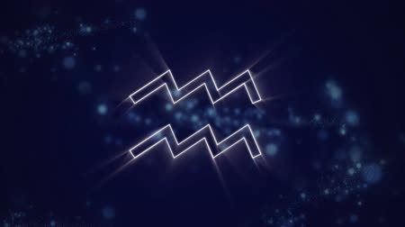 babona : Animation of a white outline of the Aquarius zodiac sign appearing on a purple background with blue twinkling lights